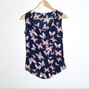 Pink Butterfly sleeveless top with scoop neck